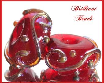Red & Metallic Aurae Glass Spacer Bead Pair...Handmade Lampwork SRA, Made To Order