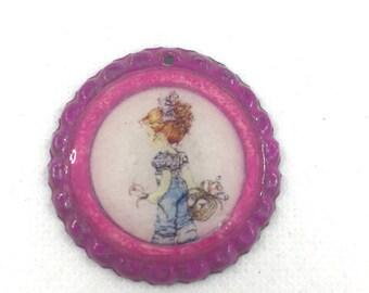 Fuchsia pendant with Sarah Key image