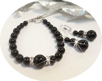 Black Jewelry, Bracelet, Earrings, Wedding Jewelry, Bridesmaid Jewelry, Bridal Jewelry, Bridal Accessories,Black Bracelet, Black Earrings