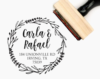 Custom Personalized Return Address Pre-Designed Rubber Stamp - Branding, Packaging, Party, Invitations, Tags, Wedding - A003