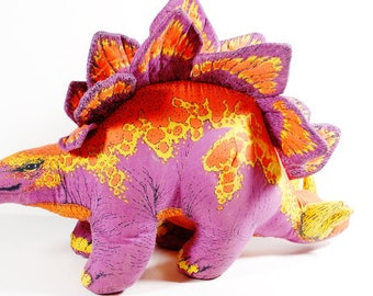 Soft Sculpture Stegosaurus - Phoenix Toy Co - 1991 - Dinosaur Pillow - Toy Dinosaur - Neon Fluorescent Dinosaur
