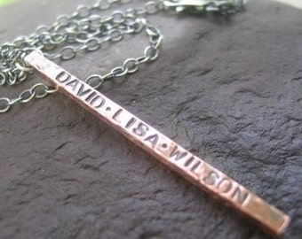 Copper Fence Post Necklace with inscription . personalized with your names . oxidized finish . rustic stick pendant . optional chain