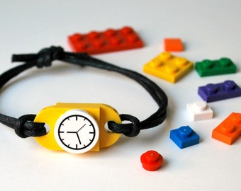 Play Day Lego Bracelet in Yellow - Build Your Own LEGO Jewelry - Pretend, Watch - Upcycled - Kid Jewelry - Tweens - Stocking Stuffer - Boys