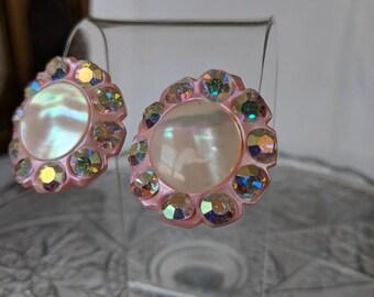 Big Pink & Aurora Borealis Crystal Plastic Clip On Earrings