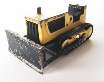 Small 1970s Tonka Bulldozer, Yellow Tonka Dozer, Construction Toy