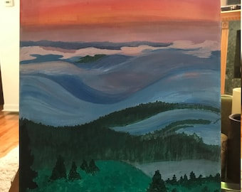 Rolling Hills Abstract Landscape Painting on Canvas