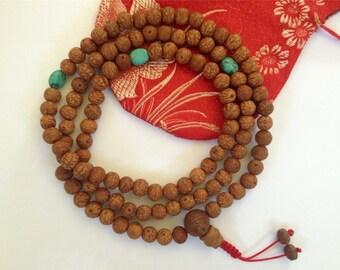 Raktu Seed 108 Bead Tibetan Mala with Turquoise Spacers