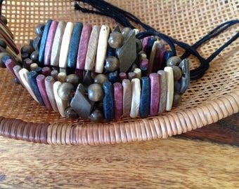 Vintage Wood and Bead BOHO Hippy Belt