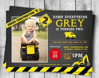 Dump Truck Birthday Invite - 5x7