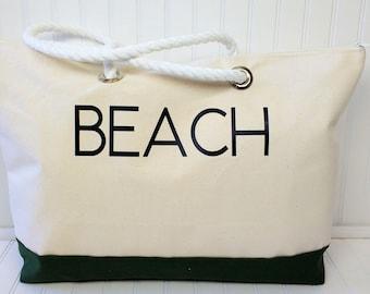 Extra Large Beach Bag - Zippered Beach Bag - Canvas Beach Bag - Beach Bag with Rope Handles - Large Beach Tote - Extra Large Beach Bags