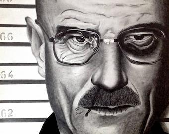 Walter White Breaking Bad Drawing Print Art Bryan Cranston TV Series