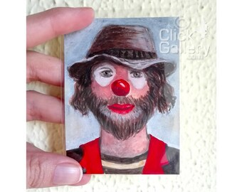 "ACEO Original miniature Clown Portrait, 2,5"" x 3.5"", OAK,acrylic painting, tiny art, ATC collectible, birthday gift"