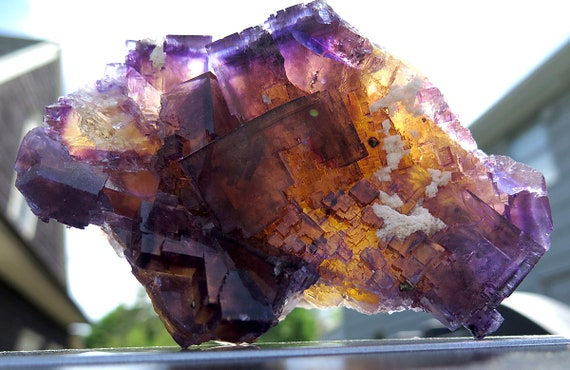 A super colorful chunk of fluorite with a touch of Barite. Shown both front lite and backlite. Annabel Lee Mine, Illinois USA