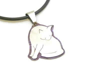 Cat Pendant in Sterling Silver - grooming kitty, silhouette