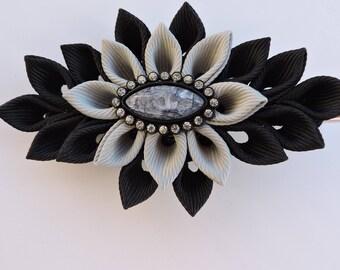 Kanzashi fabric flower hair clip,Black and gray kanzashi,Black and gray flower hair clip,Japanese hair piece,Oriental hair clip