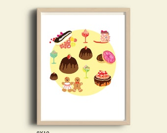 Kitchen decor wall art, funny art print, kitchen art print, foodie gifts, printable gift, printable kitchen decor cakes dessert sweets print