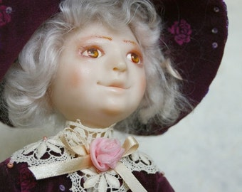 """Art Doll - """"The Girl with a doll"""" OOAK. Vintage look. Gentle and romantic gift for doll collector"""