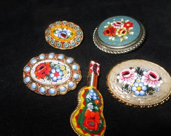 Rare group of 5 handmade (2 marked Italy) Mosaic Cloisonné lapel pins