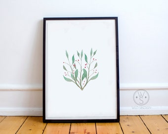 Branches printable watercolor artwork
