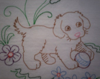 Sweet Dreams Puppy Embroidered Flour Sack Towel, Embroidered Puppy Towel