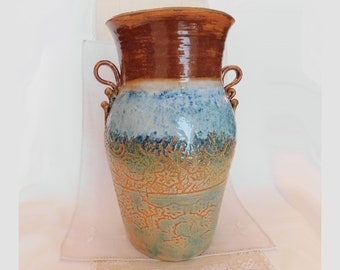 Large Thrown and Hand-Built Stoneware Pottery Vase with Lace Texture, WabiSabi, Green, Orange, Flow Blue, White, Brown