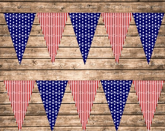 Printable 4th of July Stars and Stripes Banner - DIY Instant Download Printable Banner Bunting Sign Pennant