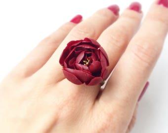 Marsala peony ring,  nature inspired ring, botanical ring, nature rings, rustic wedding ring Marsala flower ring dark flower adjustable ring