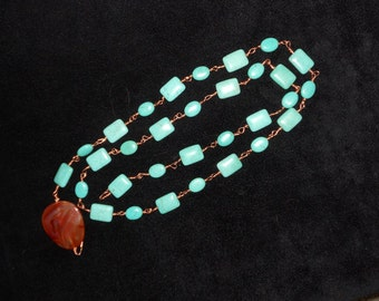 Magnacite (Buffalo Turquoise) and Carnelian Belt/Necklace