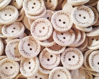 4 Gros boutons de bois naturel 30mm avec logo handmade gravé