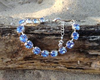 Indian Sapphire Swarovski Bracelet 15 stones shiny silver german setting with extension