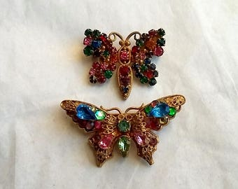 2 Vintage Czech. Rhinestone Butterfly Brooches, Multi-Color For Repair