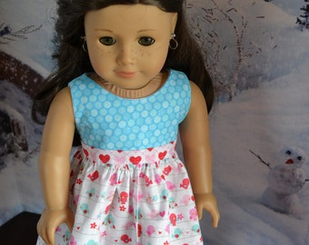 18 inch Doll Clothes - Love Birds Colorblock Dress - AQUA PINK RED - Valentine's Day - Tweet Hearts - Love Letters - fits American Girl