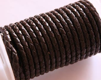 braided leather cord round chocolate, 5 mm, 1 m