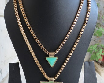 Green Prism Charm Indian Necklace,double chain Necklace,Goth Necklace,Boho Tribal Necklace,Bridesmaid Necklace,Double Prism Necklace