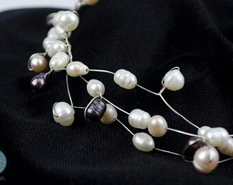 Silver Jewelry Set with white and black freshwater pearls - Handmade set - Artistic Jewelry