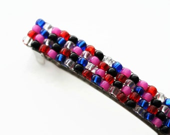 Brightly Colored French Barrette, For Long Hair, Multi Color Pink, Red, Crystal, Black, Blue