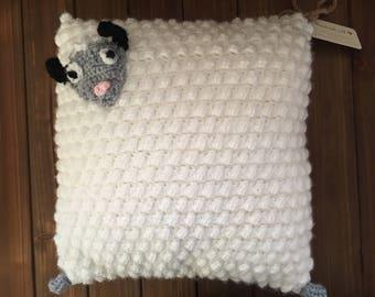 sheep pillow/ nursery decor/ baby pillow/ crochet sheep pillow