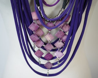 Upcycled t-shirt scarf: Purple with interesting pendant [407]
