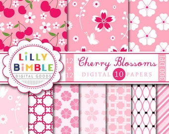 Cherry Blossoms digital scrapbooking paper. COMMERCIAL USE. Sakura. Instant Download