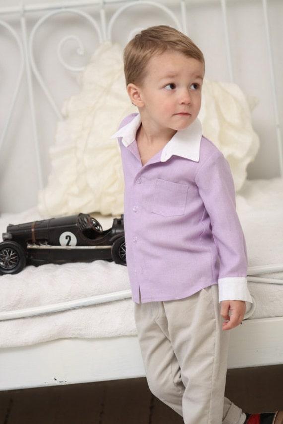 Boys dress shirt Toddler boy long sleeve light lilac linen