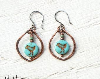 Bird Earrings, Bohemian Earrings, Copper Dangle Earrings, Boho Style, Colorful Earrings, Rustic Copper Earrings, Gift for Her, wire jewelry