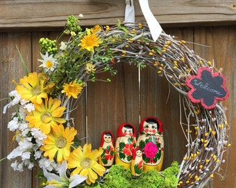 Matryoshka doll wreath; Nesting doll wreath; Matryoshka decor; Spring Wreath; Matryoshka; Nesting Doll