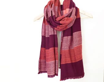 "Cashmere Silk Merino Big Scarf Pink Bordeaux and Orange Handwoven 20"" x 75"""