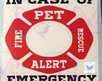 Emergency Pet Alert Decal | Home Vinyl Decal | Personalized Vinyl Decal |  Yeti Cup Decal