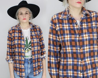 80s Plaid Flannel Button Up, Size Small, Vintage Boys Long Sleeved Shirt, Brown and Blue, Cotton, Western, Casual