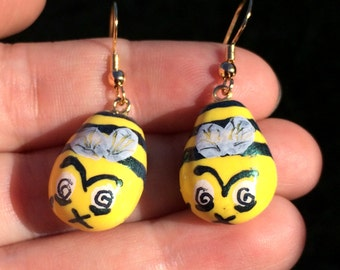 Zom-BEE/Zombie Bee Polymer Clay Earrings - Hand-Painted, Nickel-Free, Hypoallergenic