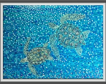 Turtles, ocean, pointillism,a bstract,mosaic,sea life