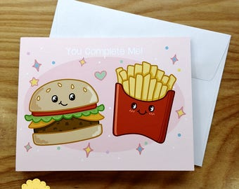 Burger and Fries Valentines Day Note Card - Kawaii Foods Cartoon Greeting Card