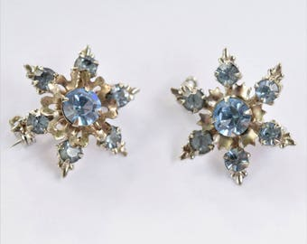 Vintage Blue Rhinestone Scatter Pins | Blue Brooches for Bridal Bouquet