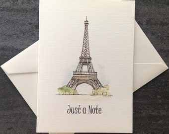 Just a note watercolour card set.  Eiffel Tower, Paris card.   Free shipping to Canada/US!  Textured linen greeting cards. Set of 8 or 25.
